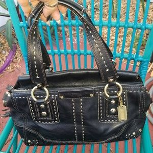 Coach large Black Leather Bag